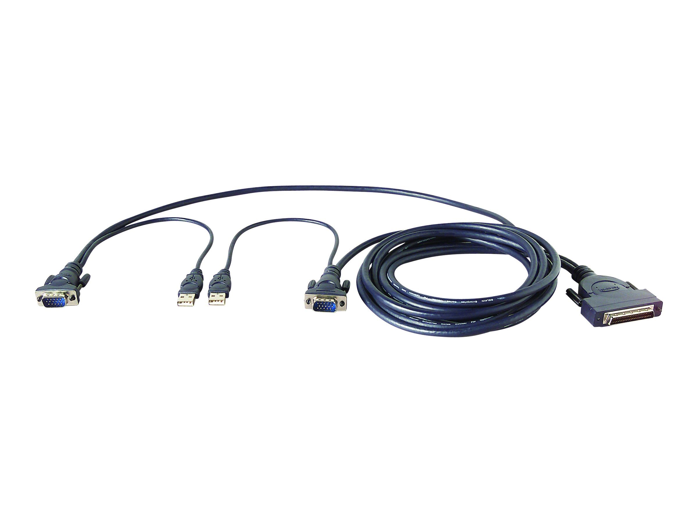 Belkin OmniView Enterprise Series Dual-Port USB KVM Cable, 6ft - bulk packaging