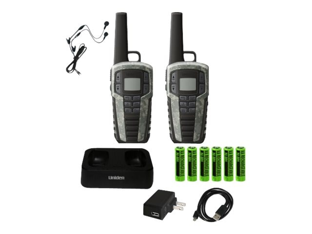 Uniden GMRS FRS RADIO 37-Mile Two Way Radio w  142 Privacy Codes & Cradle - Camo