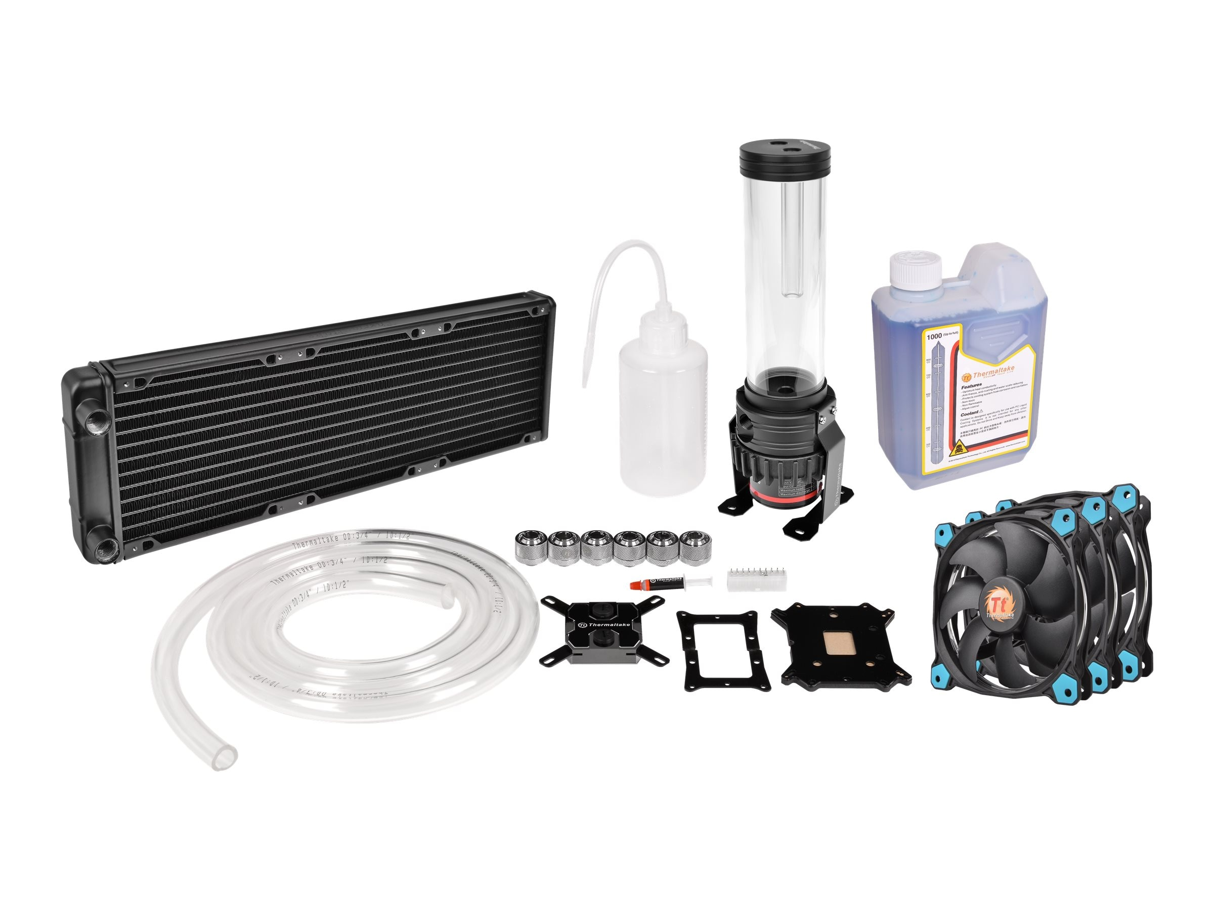 Thermaltake Pacific R360 Water Cooling Kit with Block, Pump, Reservoir, Radiator, and (3x)Riing LED Fans, CL-W115-CA12BU-A, 31465011, Cooling Systems/Fans