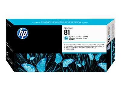 HP 81 Light Cyan Dye Printhead & Printhead Cleaner for HP DesignJet 5000 5500 Series, C4954A, 204357, Ink Cartridges & Ink Refill Kits