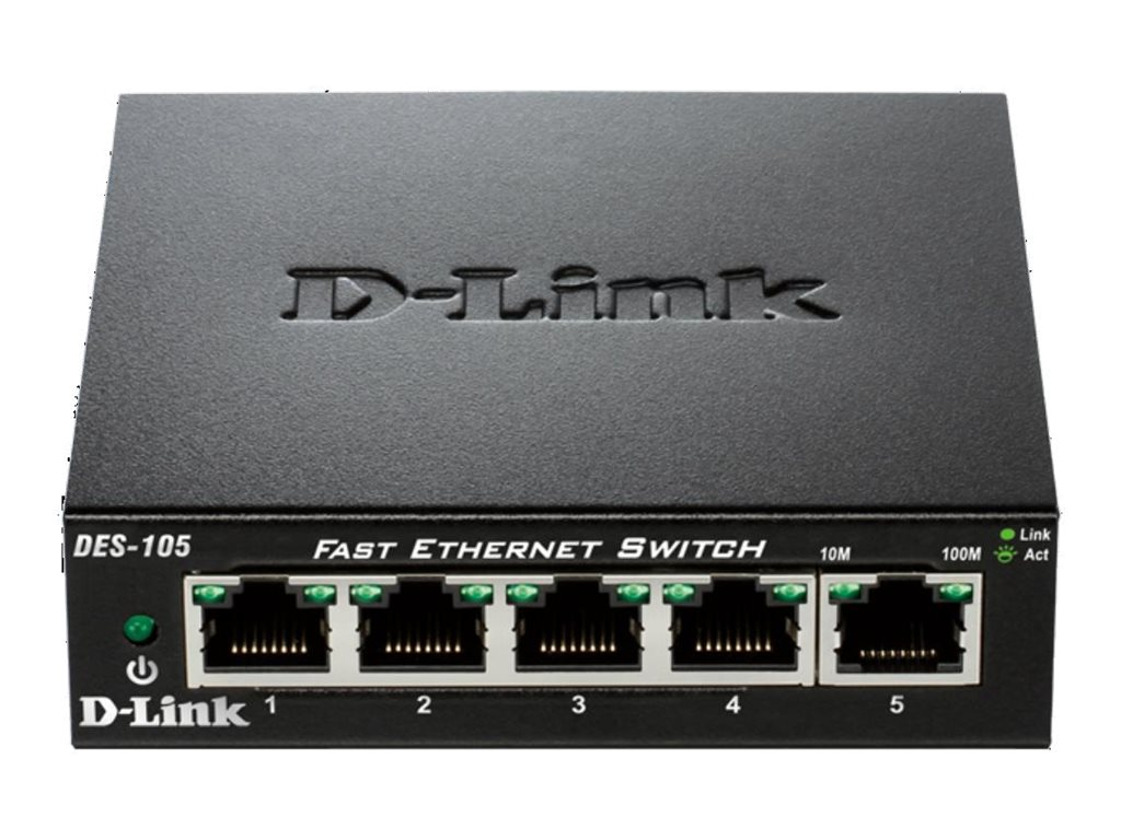 D-Link 5-Port 10 100 Unmanaged Switch with Metal Chassis, DES-105