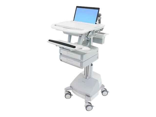 Ergotron StyleView Laptop Cart, SLA Powered, 2 Drawers, SV44-1121-1, 18024799, Computer Carts - Medical