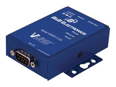 B&B Electronics Vlinx Ultra Compact Ethernet Serial Server, VESP211-232, 14291161, Network Adapters & NICs