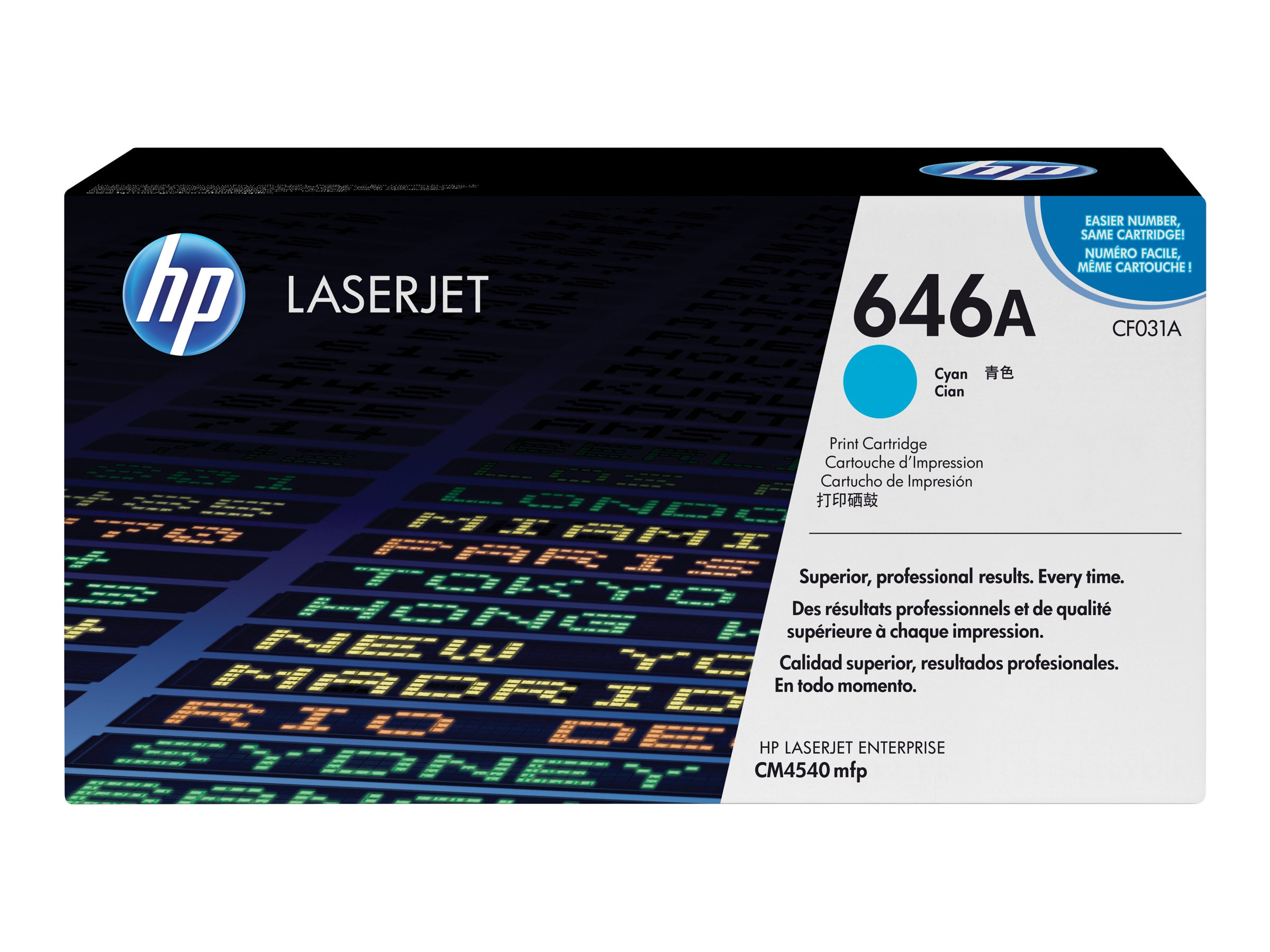 HP 646A (CF031A) Cyan Original LaserJet Toner Cartridge for HP LaserJet CM4540 MFP Series, CF031A, 12077321, Toner and Imaging Components