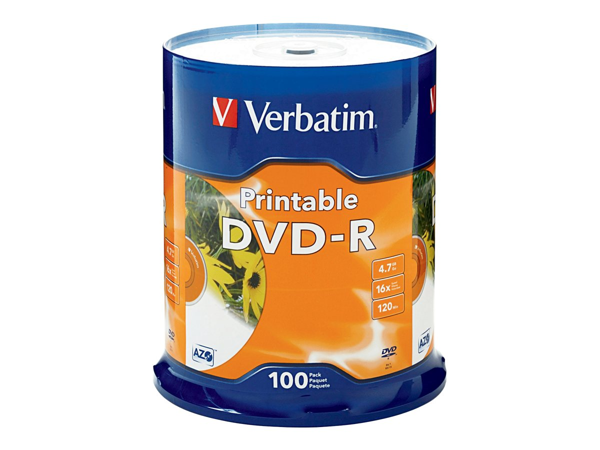Verbatim White Inkjet Printable DVD Media (Spindle), 95153, 8554112, DVD Media