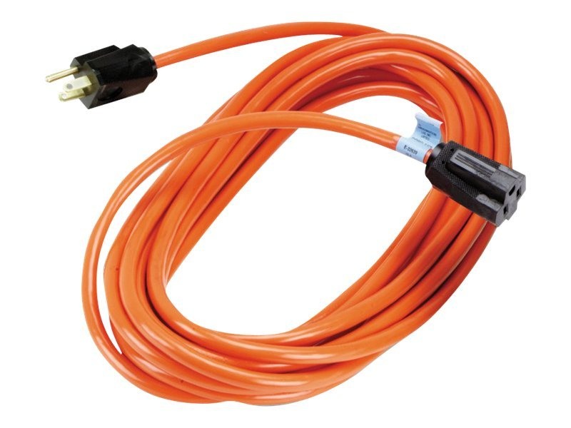 Black Box Indoor Outdoor Utility Cord, Single-outlet, 14 3 Grounded, Heavy-Duty, Orange, 25ft (7.63m), EPWR32, 15005672, Power Cords