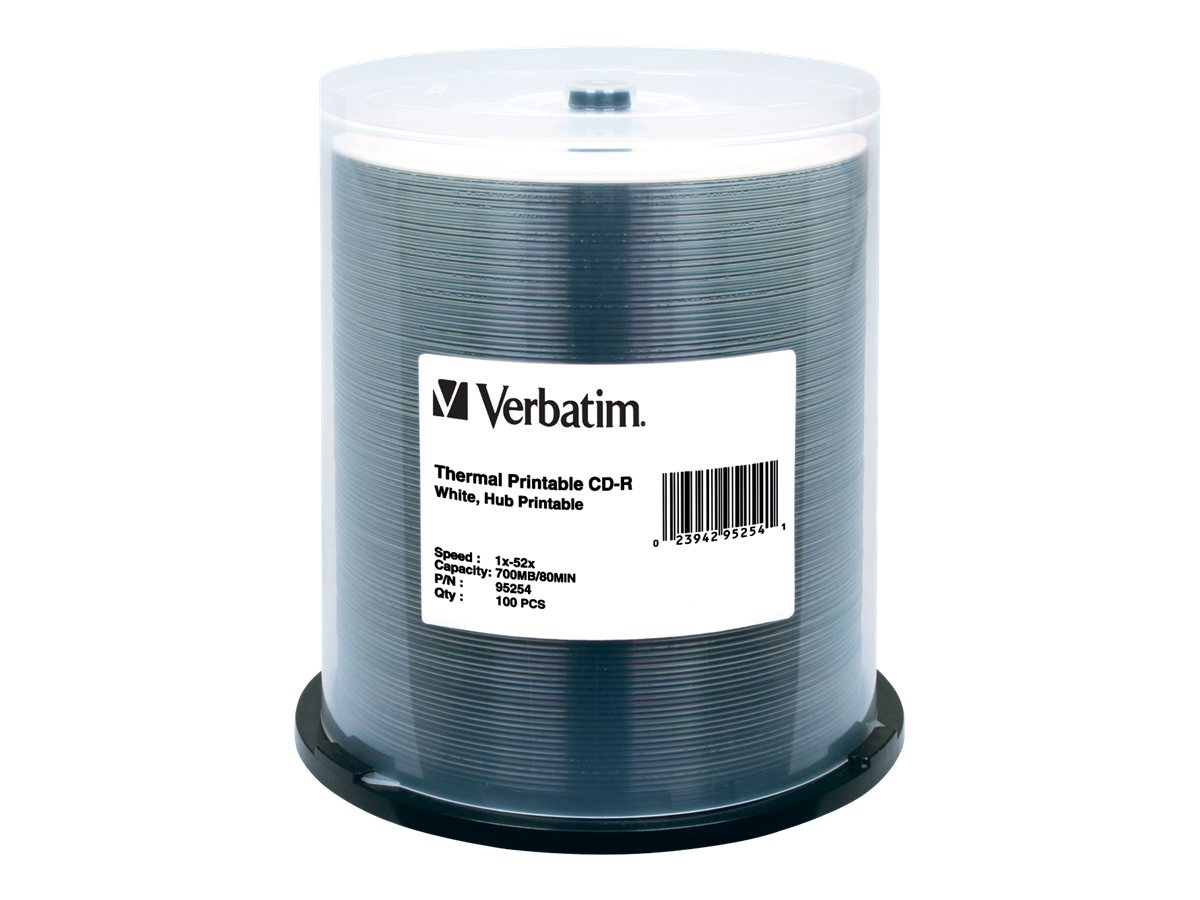 Verbatim 52X 700MB (80min) White Thermal Hub Printable CD-R Media (100-pack spindle), 95254, 7660087, CD Media