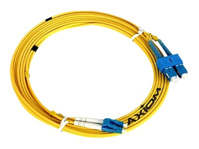 Axiom LC-LC 9 125 OS2 Singlemode Duplex Fiber Cable, Yellow, 15m, TAA