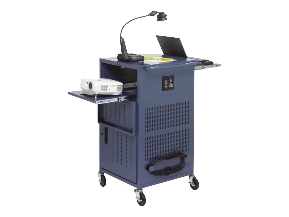 Bretford Manufacturing PAL Multimedia Presentation Cart with 12 Electric Outlets, Topaz, TCP23FF-TZ, 31794801, Computer Carts