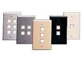 Leviton Quickport Single-Gang 4-Port Wallplate, White, 41080-4WP, 7314192, Premise Wiring Equipment