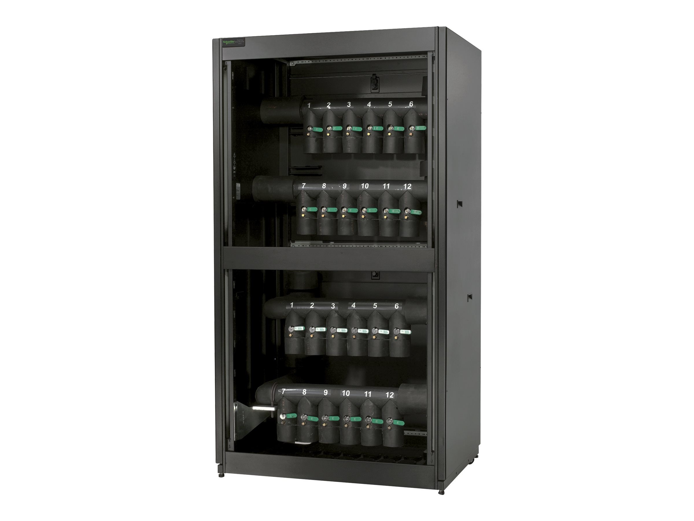 APC Cooling Distribution Unit 12 Circuit, Bottom Top Mains, Bottom Distrobution Piping, ACFD12-B, 9347983, Rack Cooling Systems