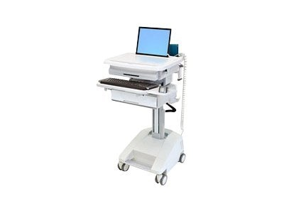Ergotron StyleView PHD Laptop Cart, 1 Drawer, Powered, SV42-3111-1, 13855307, Computer Carts - Medical
