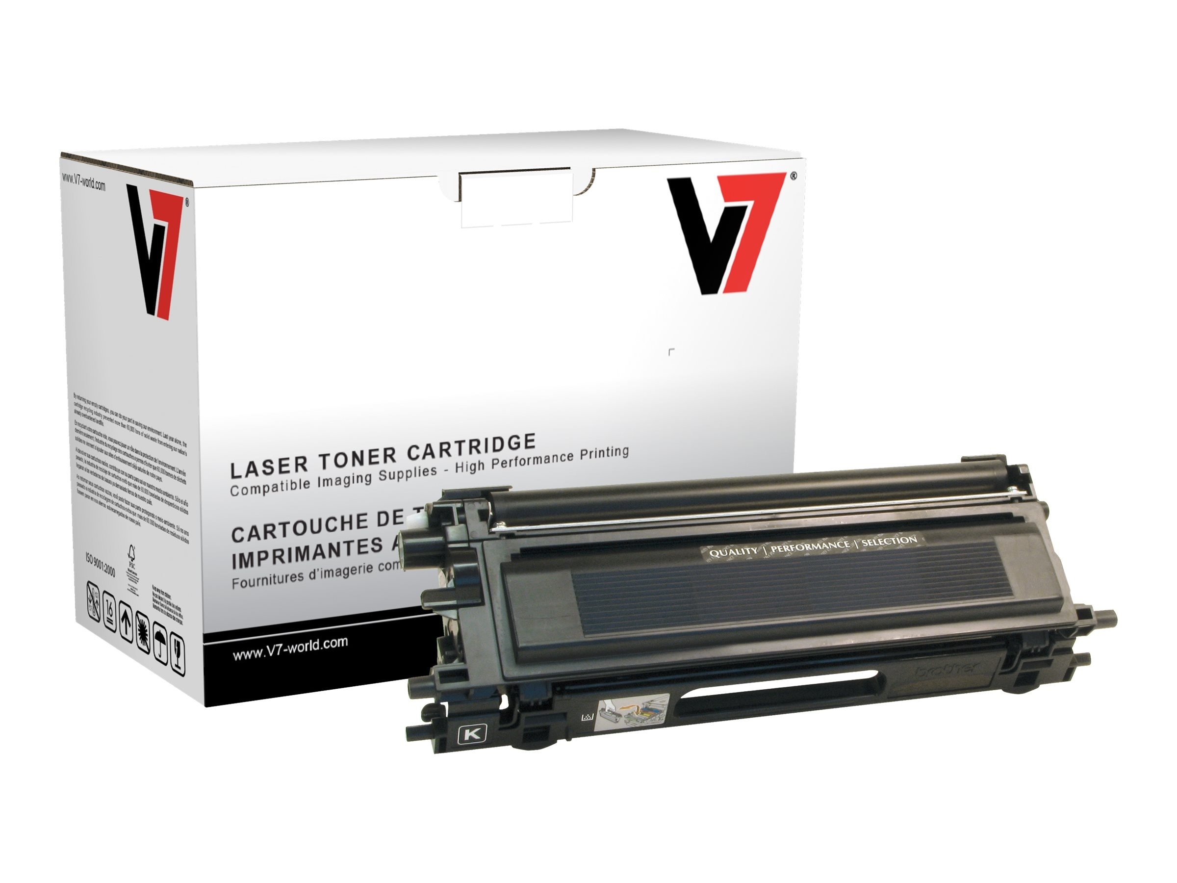 V7 TN115BK Black High Yield Toner Cartridge for Brother HL-4040 (TAA Compliant), TBK2TN115BKH