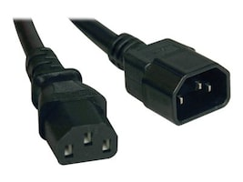 Tripp Lite AC Power Extender Cord IEC-320 C14 to IEC-320 C13 100-250V 10A 18AWG SJT Black 1ft, P004-001, 16275789, Power Cords