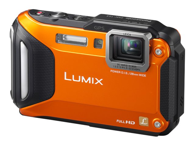 Panasonic Lumix DMC-TS5 Tough Digital Camera, 16.1MP, 9.3x Zoom, Orange, DMC-TS5D, 15500278, Cameras - Digital - Point & Shoot