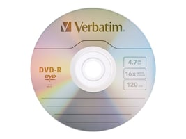 Verbatim 16x 4.7GB Branded DVD-R Media (100-pack Spindle), 95102, 5867076, DVD Media