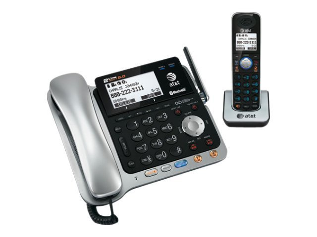 AT&T DECT 6.0 2-Line Corded Cordless Connect to Cell Answering System with Caller ID Call Waiting, TL86109