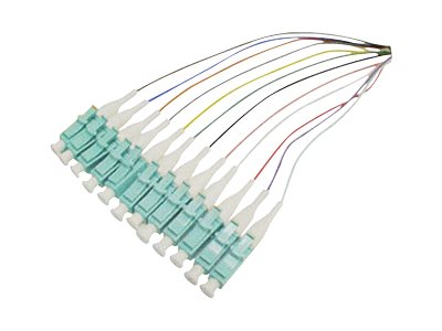 ACP-EP LC-LC 12-Fiber 50 125 OM3 MMF 12-Color Splice Optic Pigtail Cable, 3m, ADD-PT12-3MLC-OM3