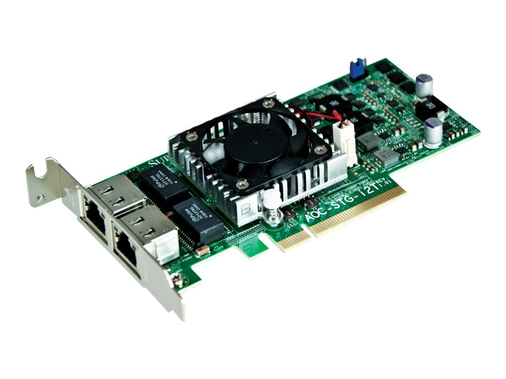 Supermicro 10-Gigabit Networking Adapter PCIe Dual-Port 10GBase 2xRJ45 Copper Low-Profile OEM, AOC-STG-I2T, 14617415, Network Adapters & NICs