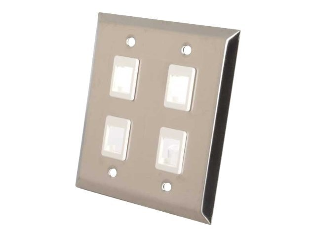C2G 4-Port Dual Gang Multimedia Keystone Wall Plate, Stainless Steel, 37097, 9422218, Premise Wiring Equipment