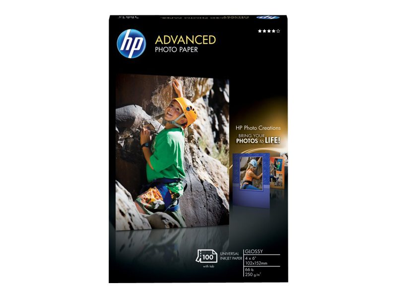 HP 4 x 6 Advanced Glossy Photo Paper (100-Sheets), Q6638A, 6013101, Paper, Labels & Other Print Media