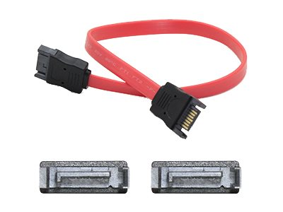 ACP-EP Latching SATA to SATA M M Cable, Red, 18, SATAMM18IN