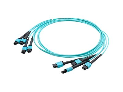 ACP-EP 4xMPO to 4xMPO F F 50 125 OM4 Multimode LSZH Duplex Fiber Cable, Aqua, 1m, ADD-TC-1M48-4MPF4