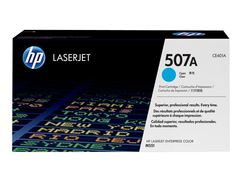 HP 507A Cyan LaserJet Toner Cartridge (TAA Compliant), CE401AG, 15893227, Toner and Imaging Components