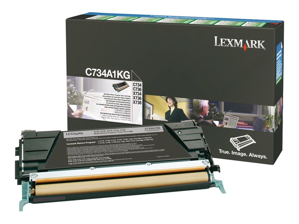 Lexmark Black Return Program Toner Cartridge for C734, C736, X734, X736 & X738 Series, C734A1KG