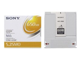 Sony 650MB 5.25 1x Rewritable Magneto Optical Disc, EDM650CWW, 5872300, Magneto-Optical Cartridges