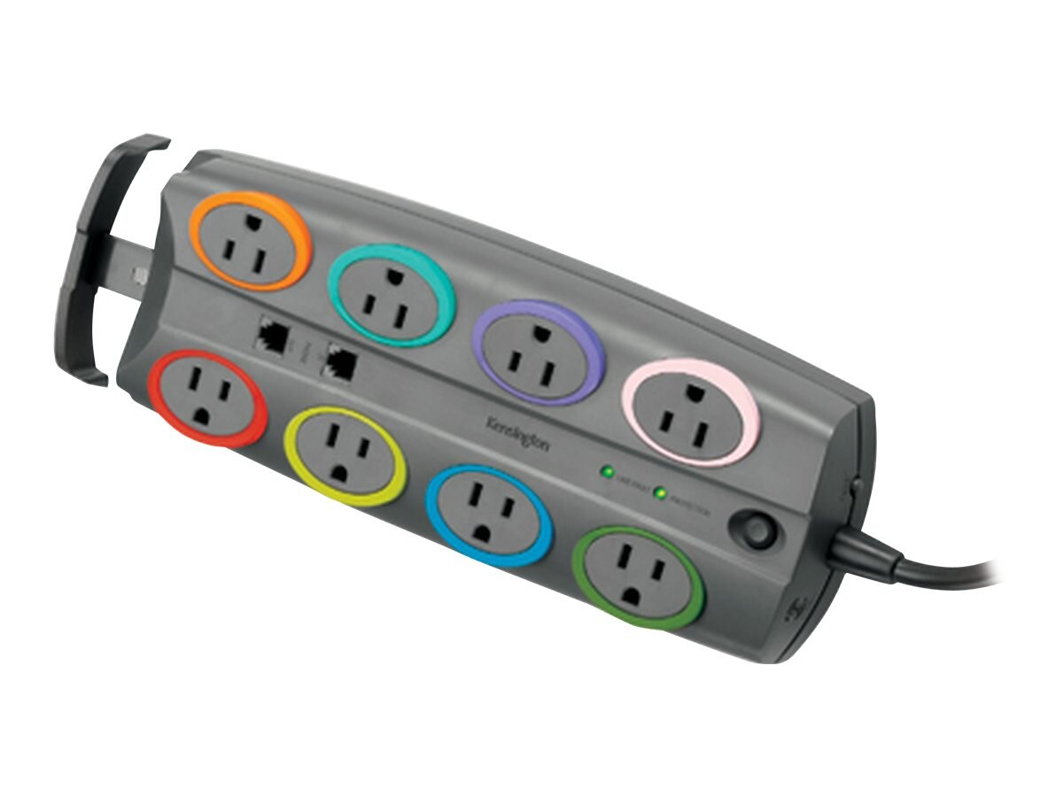 Kensington SmartSockets Standard Adapter Surge Protector 2490 Joules 5-15P Input 8ft Cord (8) 5-15R Outlets, 62690, 6129753, Surge Suppressors