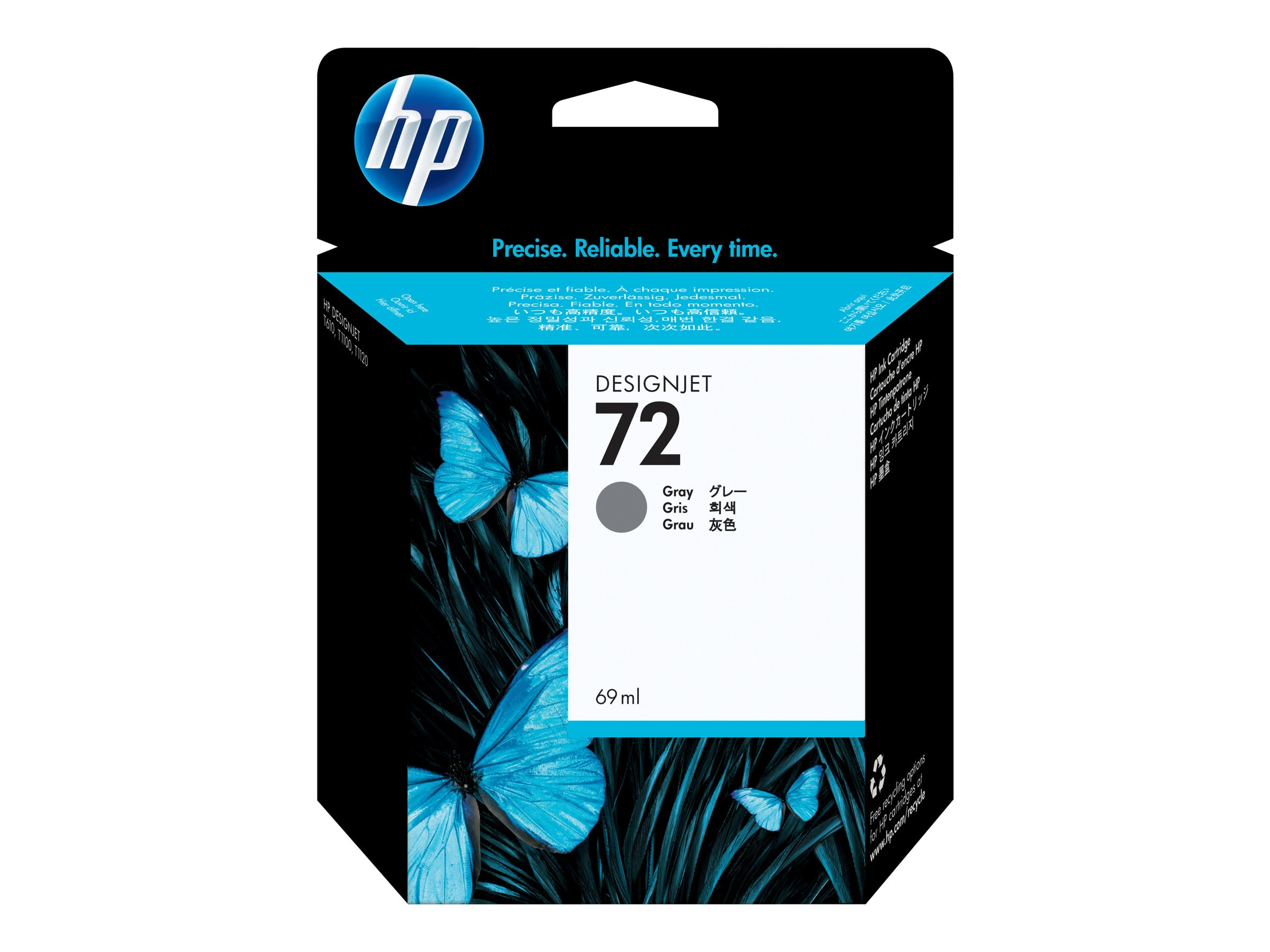 HP 72 Gray Ink Cartridge (69ml), C9401A, 7624650, Ink Cartridges & Ink Refill Kits