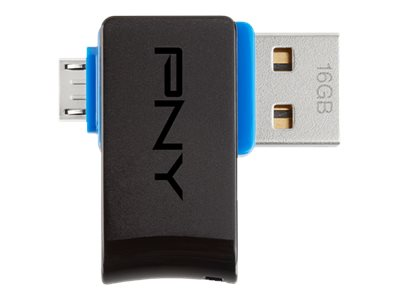 PNY 16GB Duo Link OTG USB Flash Drive, P-FDI16GOTGSWB-GE