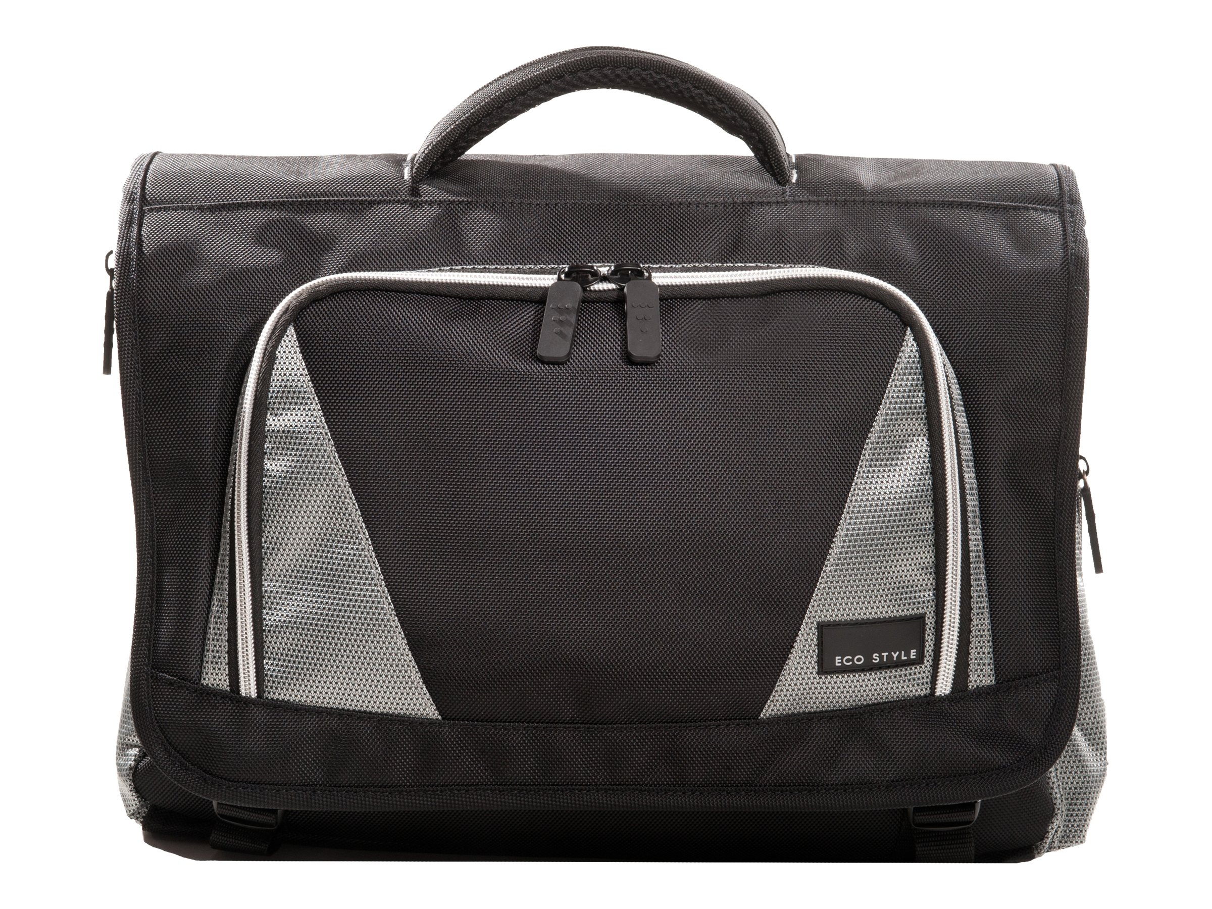 Eco Style Sports Voyage Messenger Case, Fits 16.4 Notebook, Black Silver, EVOY-MC16, 13932907, Carrying Cases - Notebook