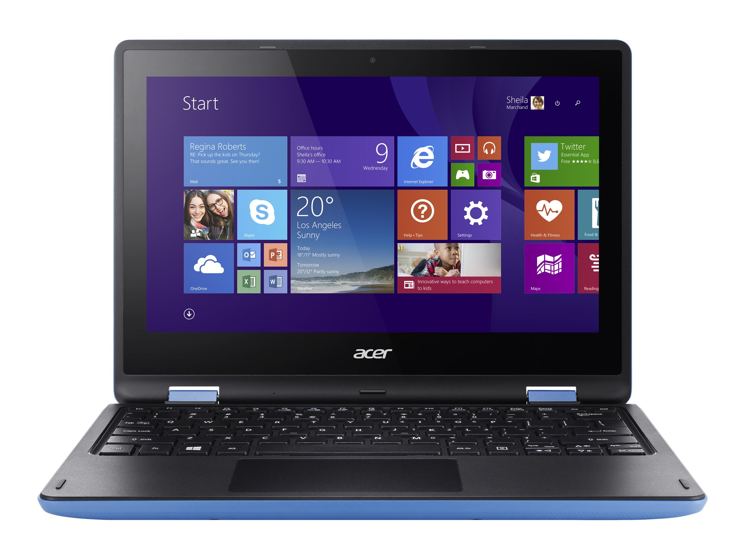 Acer Shape the Future Aspire R3-131T-C1Z5 Celeron N3150 1.6GHz 4GB 500GB ac BT WC 11.6 HD MT W10P64 Blue, NX.G0YAA.016