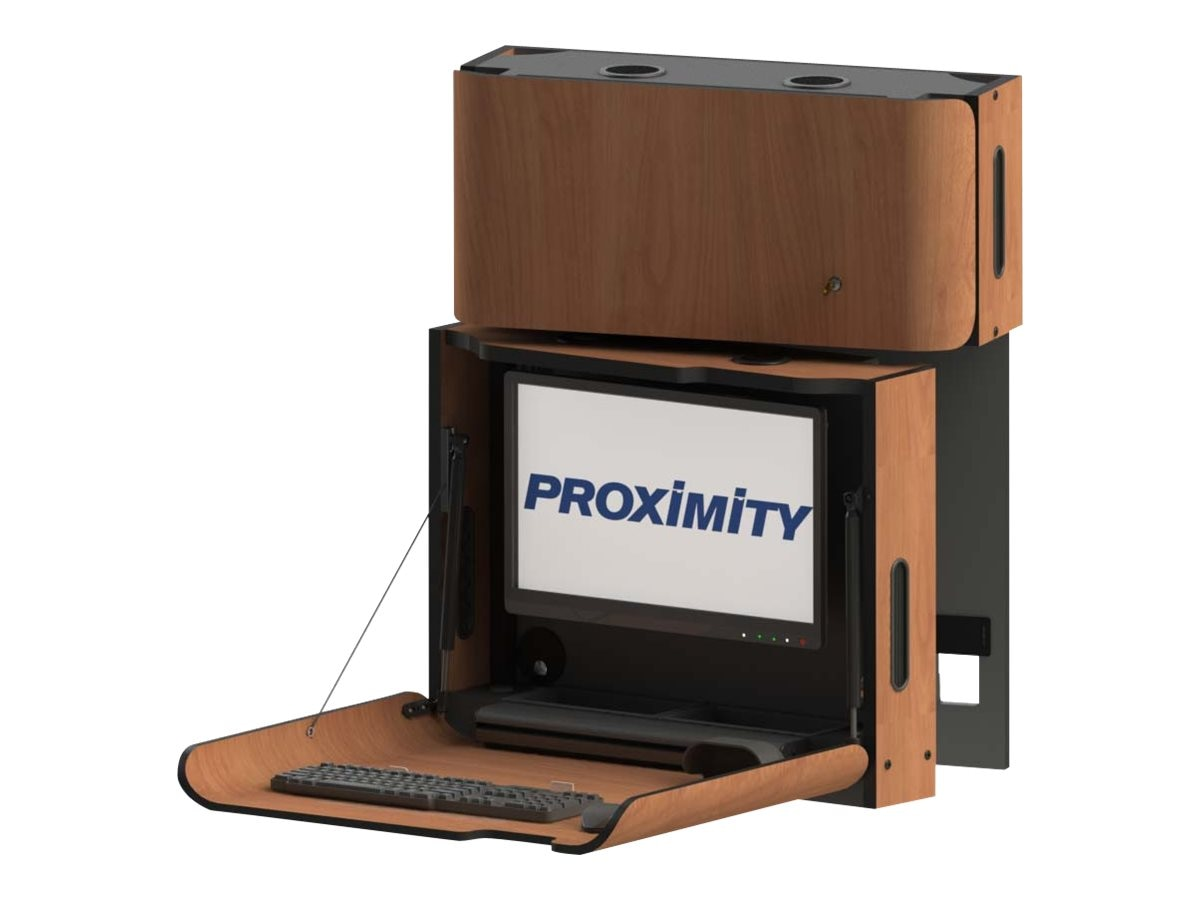 Proximity Classic Series Wall-Mounted Computer Workstation with Left Swivel and Tilt, Wild Cherry