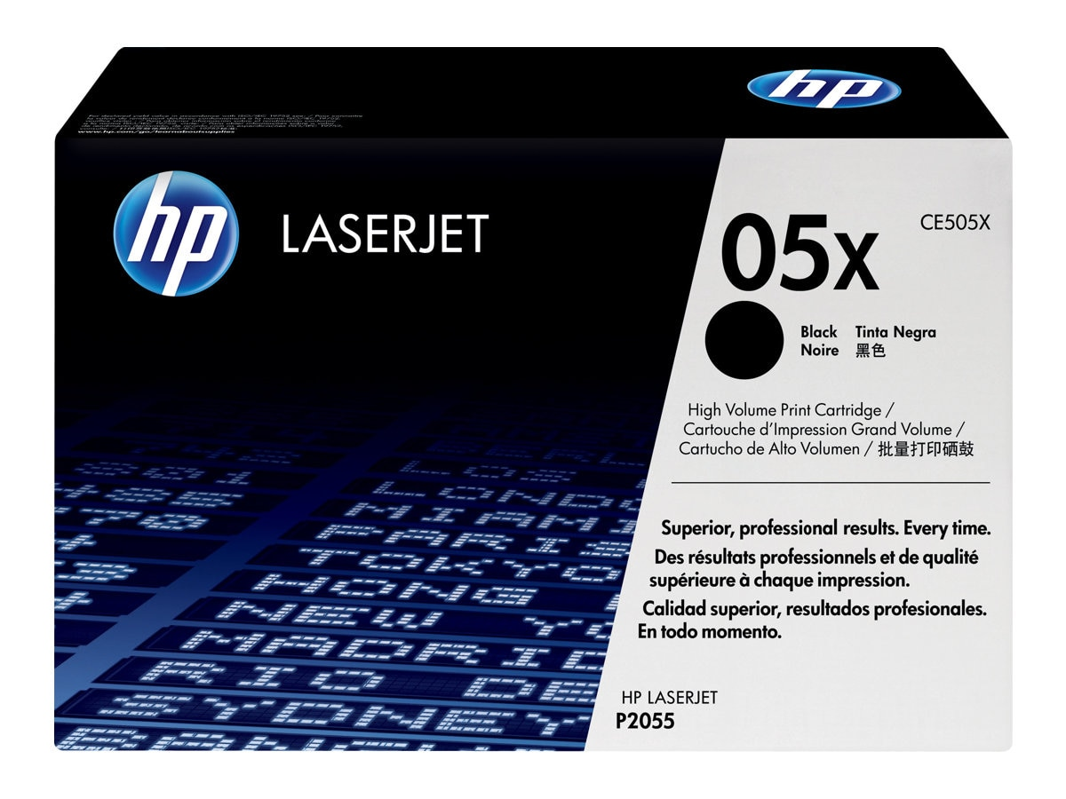HP 05X (CE505X) High Yield Black Original LaserJet Toner Cartridge, CE505X, 8929033, Toner and Imaging Components