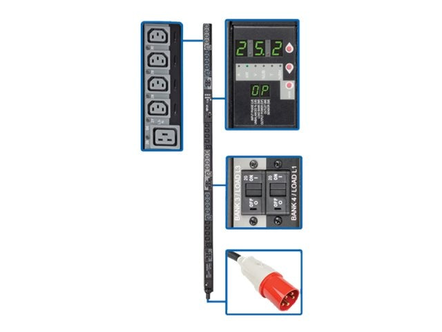 Tripp Lite Switched PDU 25.2kW 415V 3-Ph Wye 240V Output 0U IEC309 60A Red (3P+N+E) (24) C13 (6) C19 Outlets, PDU3XVSR6G60B, 17455896, Power Distribution Units