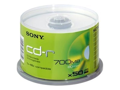 Sony 48x 700MB 80min. CD-R Media (50-pack Spindle), 50CDQ80SP, 15472465, CD Media