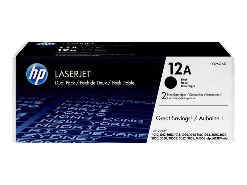HP 12A (Q2612D) 2-pack Black Original LaserJet Toner Cartridges for HP LaserJet 1012, 100, 1022n, Q2612D, 12416214, Toner and Imaging Components