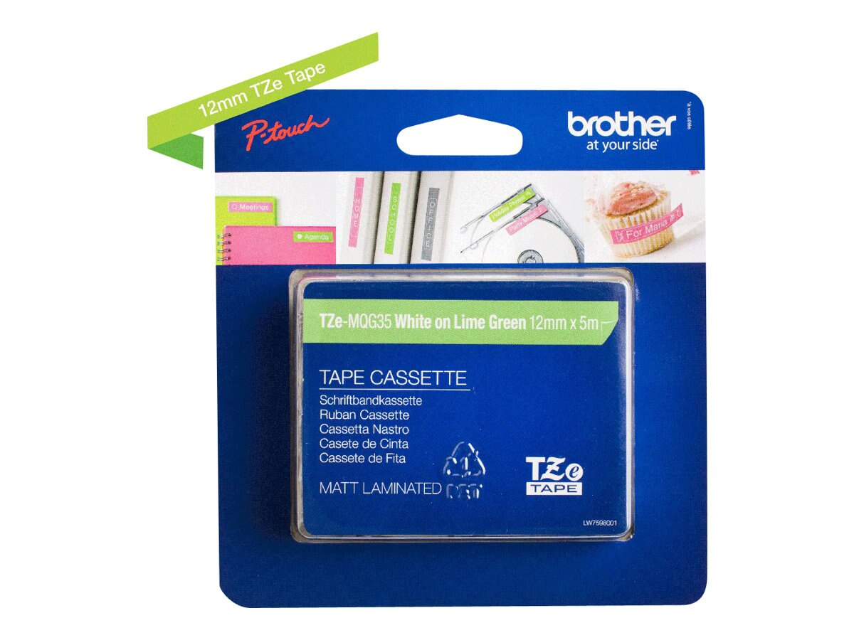Brother 0.47 x 16.4' TZeMQG35 White on Lime Green Tape for P-Touch, TZE-MQG35