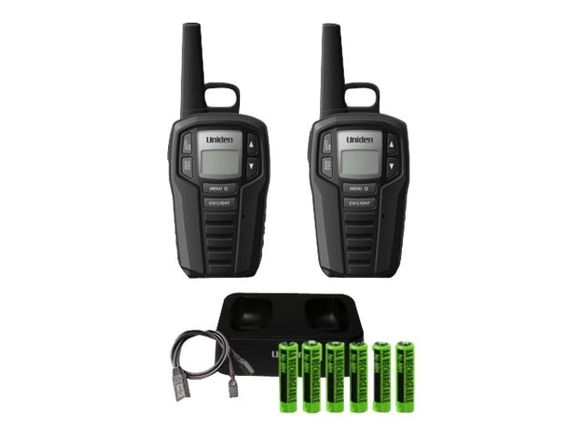 Uniden GMRS FRS 23-Mile Two Way Radio w  121 Privacy Codes & Charging Cradle, SX237-2CK