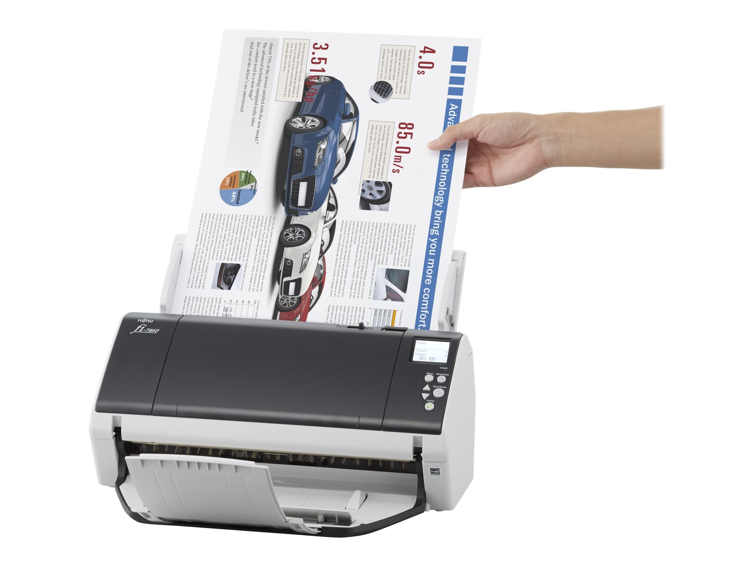Fujitsu FI-7460 Departmental Scanner PSIP 60ppm 120ipm 100-Page ADF USB 3.0