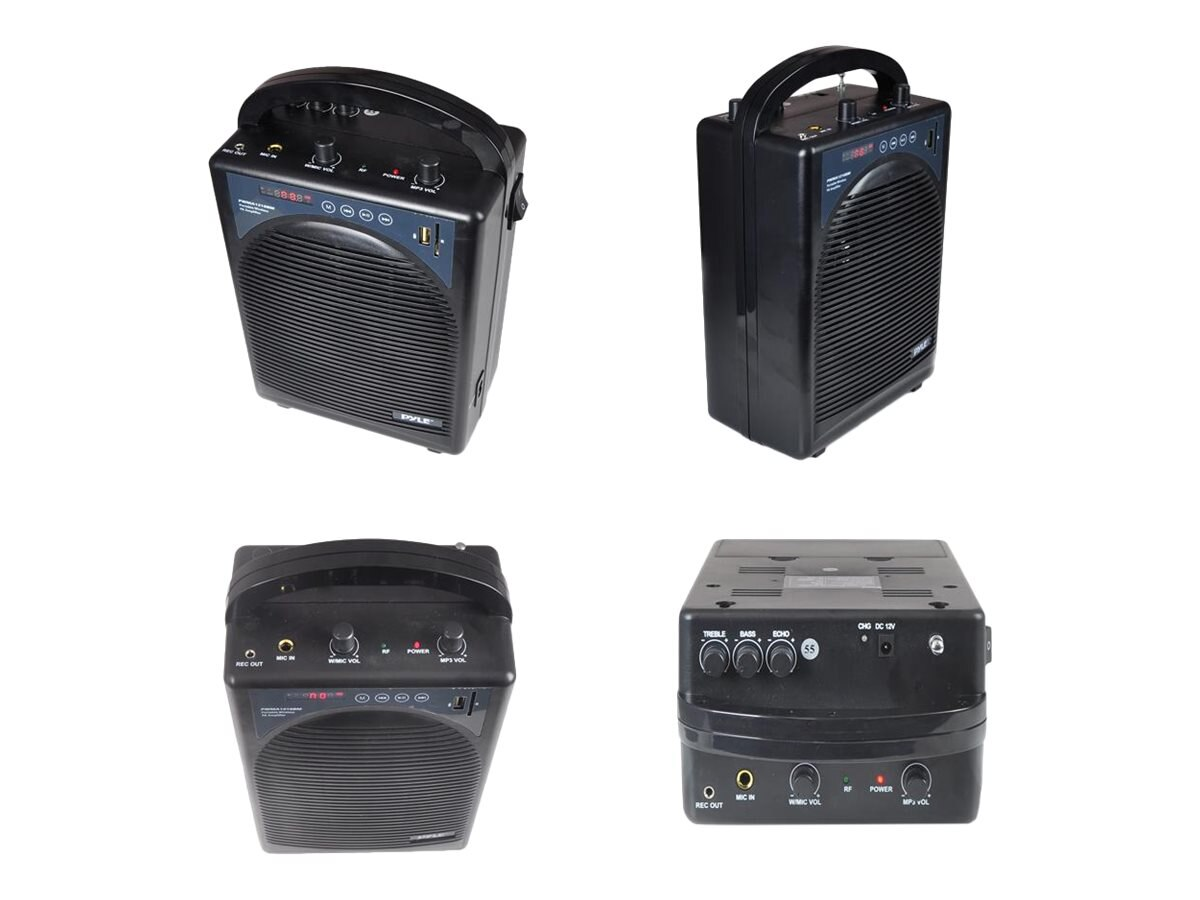 Pyle Portable PA Speaker AMP & BT Wireless Streaming Mic System, PWMA1216BM