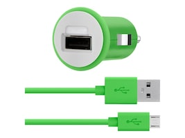 Belkin Car Charger, 30-Pin Charge Sync Cable, 10W 2.1A, Green, F8J140BT04-GRN, 17754503, Automobile/Airline Power Adapters