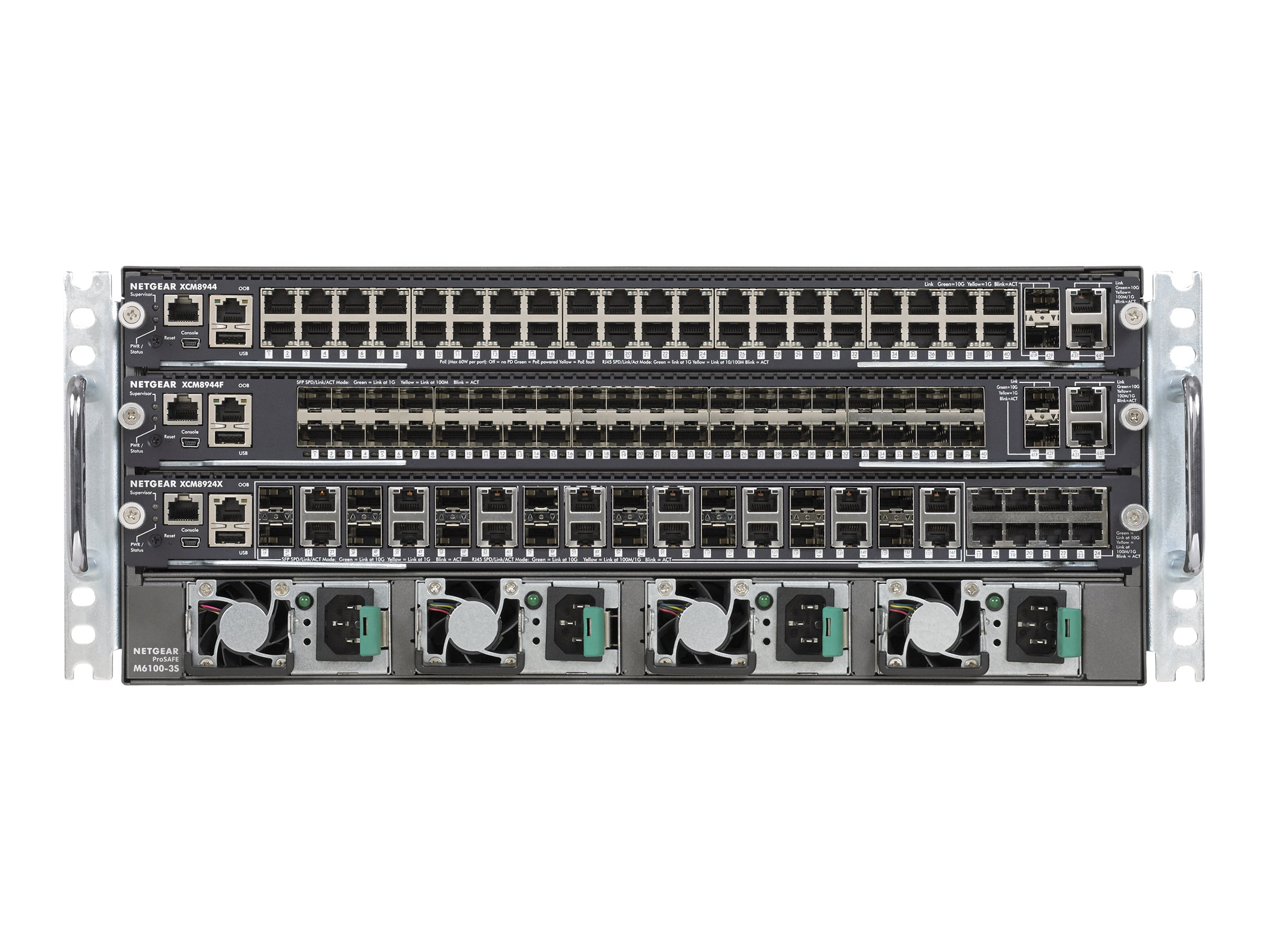 Netgear ProSAFE M6100-44G3-POE+ Chassis Switch Starter Kit Bundle, XCM8903SK-10000S, 18366094, Network Switches