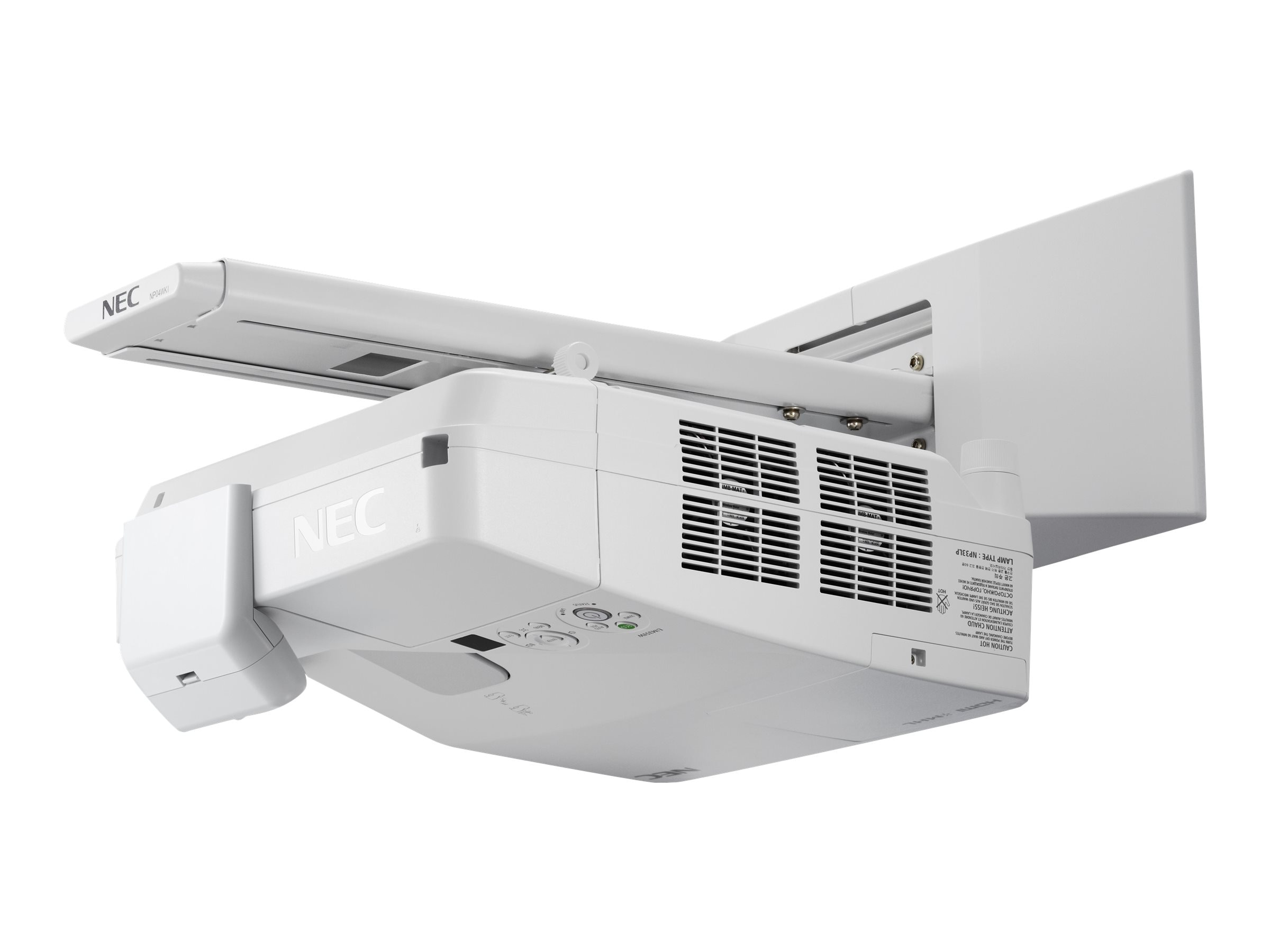 NEC UM361X Ultra Short Throw LCD Projector, 3600 Lumens, White with Wall Mount