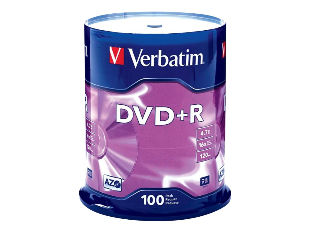 Verbatim 16x 4.7GB DVD+R Media (100-pack Spindle), 95098, 5870507, DVD Media