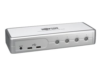Tripp Lite Compact 4-port DVI USB KVM Switch w Audio, (8) Cables, B004-DUA4-K-R, 13594493, KVM Switches