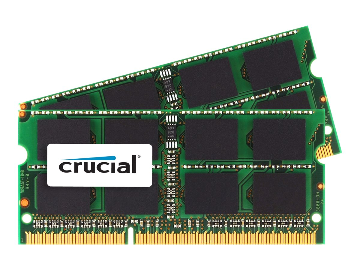 Crucial 8GB PC3L-14900 204-pin DDR3L SDRAM SODIMM Kit, CT2K4G3S186DJM, 31052971, Memory